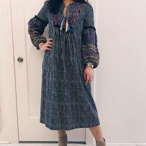 Velvet By Graham & Spencer embroi boho midi dress